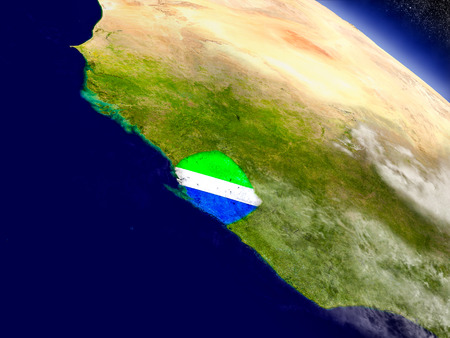 Flag of Sierra Leone on planet surface from space. 3D illustration with highly detailed realistic planet surface and clouds in the atmosphere.