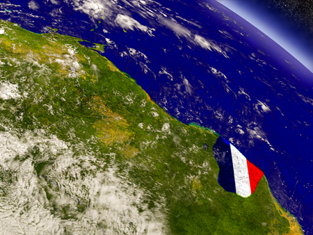 guiana: Flag of French Guiana on planet surface from space. 3D illustration with highly detailed realistic planet surface and clouds in the atmosphere.