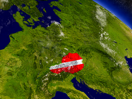 austria flag: Flag of Austria on planet surface from space. 3D illustration with highly detailed realistic planet surface and clouds in the atmosphere.