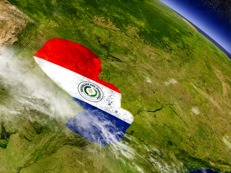 bandera de paraguay: Flag of Paraguay on planet surface from space. 3D illustration with highly detailed realistic planet surface and clouds in the atmosphere. Foto de archivo