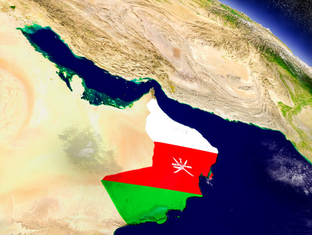 Flag of Oman on planet surface from space. 3D illustration with highly detailed realistic planet surface and clouds in the atmosphere.