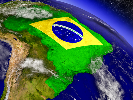 physical geography: Flag of Brazil on planet surface from space. 3D illustration with highly detailed realistic planet surface and clouds in the atmosphere. Stock Photo