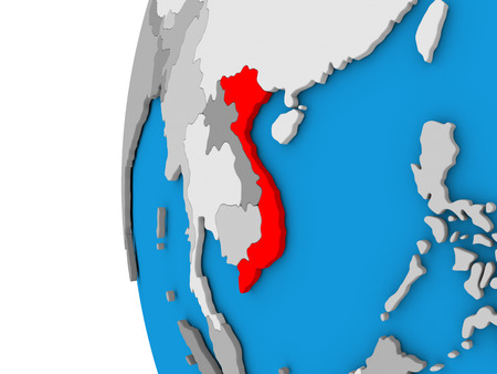 3D map of Vietnam focused in red on simple globe. 3D illustration