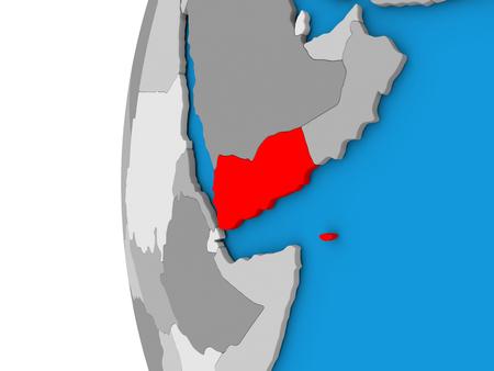 yemen: 3D map of Yemen focused in red on simple globe. 3D illustration Stock Photo