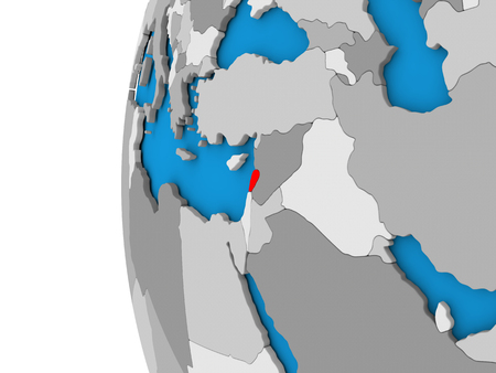 lebanese: 3D map of Lebanon focused in red on simple globe. 3D illustration