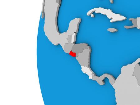 mapa de el salvador: mapa en 3D de El Salvador se centró en rojo en globo simple. ilustración 3D