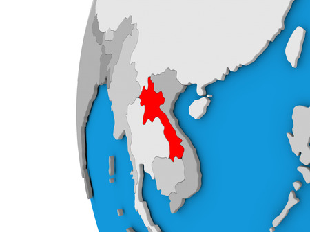 3D map of Laos focused in red on simple globe. 3D illustration