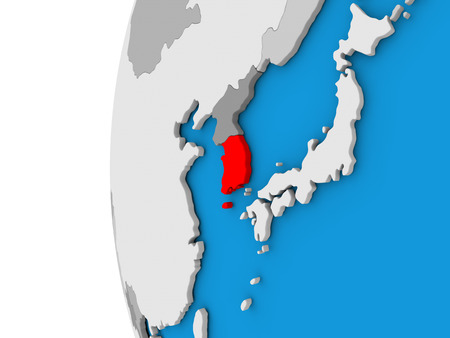 3D map of South Korea focused in red on simple globe. 3D illustration Stock Photo