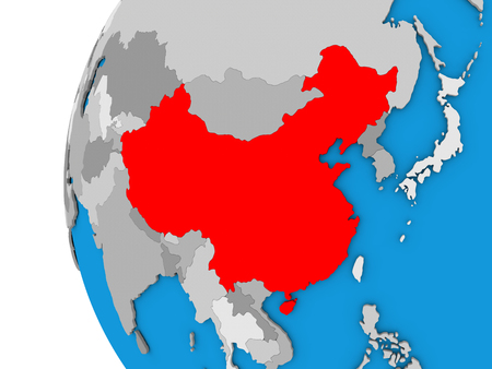 people's republic of china: 3D map of China focused in red on simple globe. 3D illustration