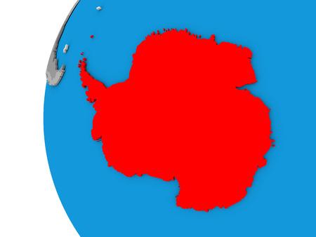 antarctica: 3D map of Antarctica focused in red on simple globe. 3D illustration Stock Photo