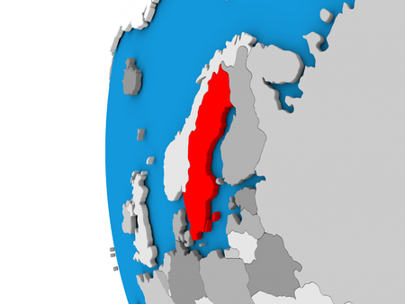 3D map of Sweden focused in red on simple globe. 3D illustration Stock Photo