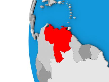 3D map of Venezuela focused in red on simple globe. 3D illustration