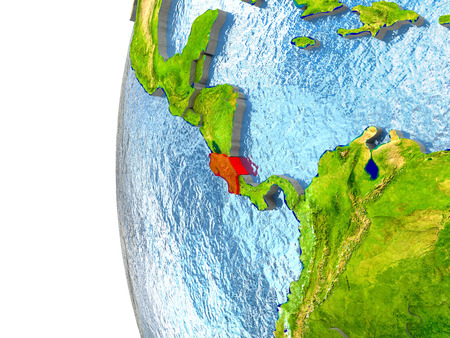 Costa Rica in red on a globe with reflective ocean waters. 3D illustration with highly detailed realistic planet surface.