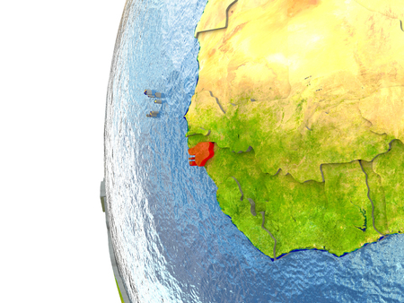 Guinea-Bissau in red on a globe with reflective ocean waters. 3D illustration with highly detailed realistic planet surface.