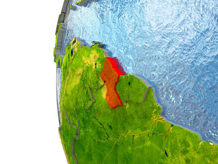 guyanese: Guyana in red on a globe with reflective ocean waters. 3D illustration with highly detailed realistic planet surface.