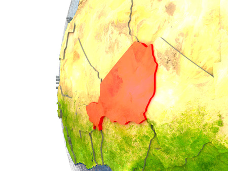 Niger in red on a globe with reflective ocean waters. 3D illustration with highly detailed realistic planet surface.