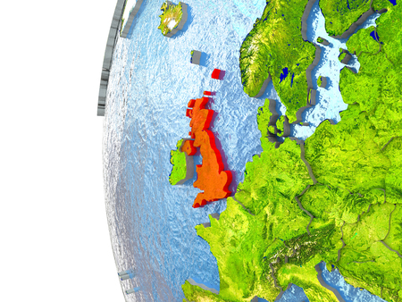 briton: United Kingdom in red on a globe with reflective ocean waters. 3D illustration with highly detailed realistic planet surface.