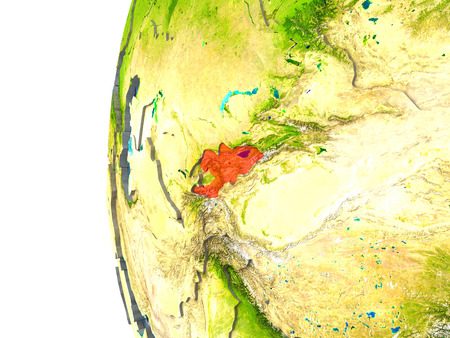 kyrgyzstan: Kyrgyzstan in red on a globe with reflective ocean waters. 3D illustration with highly detailed realistic planet surface.