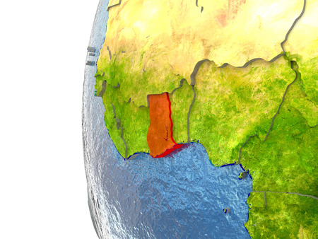 Ghana in red on a globe with reflective ocean waters. 3D illustration with highly detailed realistic planet surface.