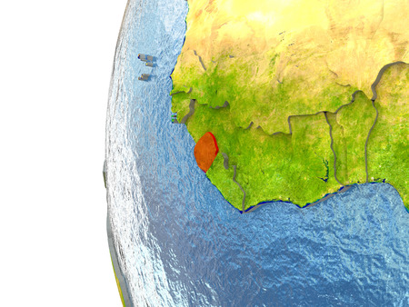 Sierra Leone in red on a globe with reflective ocean waters. 3D illustration with highly detailed realistic planet surface. Stock Photo