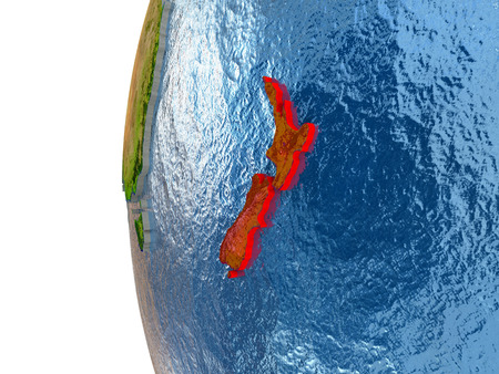 aotearoa: New Zealand in red on a globe with reflective ocean waters. 3D illustration with highly detailed realistic planet surface.