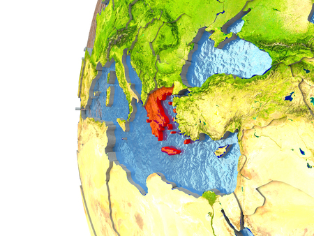 Greece in red on a globe with reflective ocean waters. 3D illustration with highly detailed realistic planet surface.