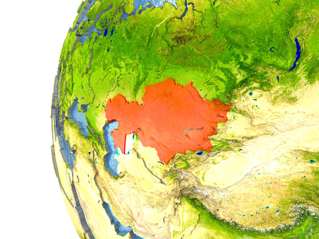 Kazakhstan in red on a globe with reflective ocean waters. 3D illustration with highly detailed realistic planet surface. Stock Photo