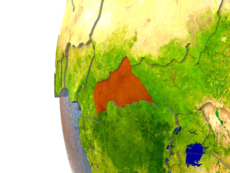 Central Africa in red on a globe with reflective ocean waters. 3D illustration with highly detailed realistic planet surface. Stock Photo