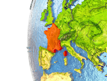 France in red on a globe with reflective ocean waters. 3D illustration with highly detailed realistic planet surface. Stock Photo