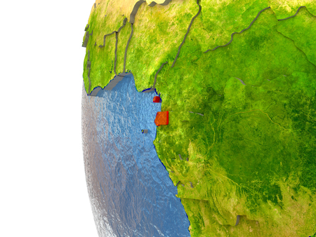 equatorial guinea: Equatorial Guinea in red on a globe with reflective ocean waters. 3D illustration with highly detailed realistic planet surface. Stock Photo