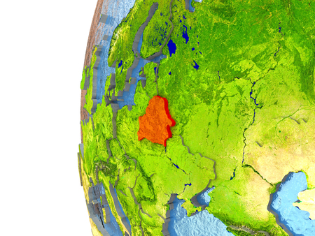 Belarus in red on a globe with reflective ocean waters. 3D illustration with highly detailed realistic planet surface. Stock Photo