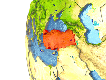 Turkey in red on a globe with reflective ocean waters. 3D illustration with highly detailed realistic planet surface. Stock Photo