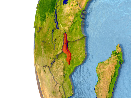 Malawi in red on a globe with reflective ocean waters. 3D illustration with highly detailed realistic planet surface.
