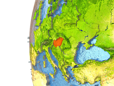 magyar: Hungary in red on a globe with reflective ocean waters. 3D illustration with highly detailed realistic planet surface. Stock Photo