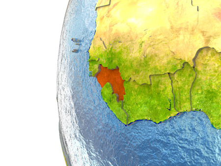 Guinea in red on a globe with reflective ocean waters. 3D illustration with highly detailed realistic planet surface.