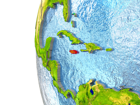 Jamaica in red on a globe with reflective ocean waters. 3D illustration with highly detailed realistic planet surface.