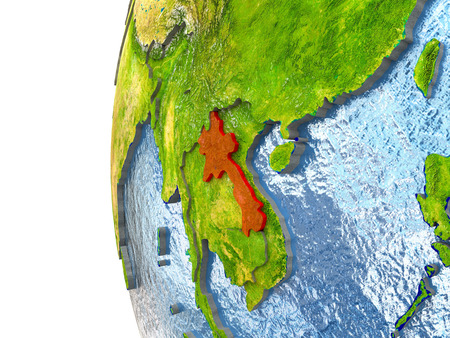 Laos in red on a globe with reflective ocean waters. 3D illustration with highly detailed realistic planet surface.