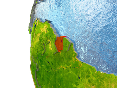Suriname in red on a globe with reflective ocean waters. 3D illustration with highly detailed realistic planet surface.