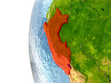 Peru in red on a globe with reflective ocean waters. 3D illustration with highly detailed realistic planet surface. Foto de archivo