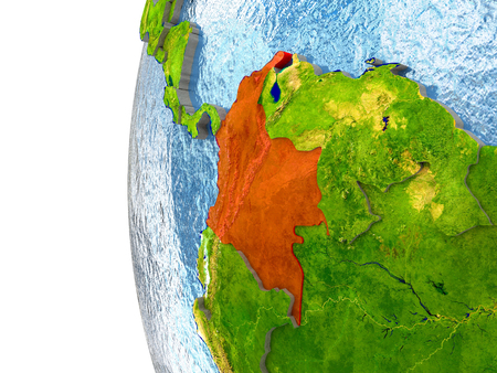 republic of colombia: Colombia in red on a globe with reflective ocean waters. 3D illustration with highly detailed realistic planet surface. Stock Photo