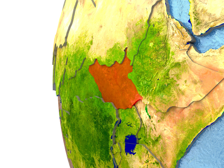 South Sudan in red on a globe with reflective ocean waters. 3D illustration with highly detailed realistic planet surface.
