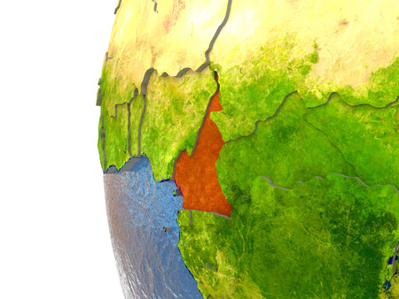 Cameroon in red on a globe with reflective ocean waters. 3D illustration with highly detailed realistic planet surface.
