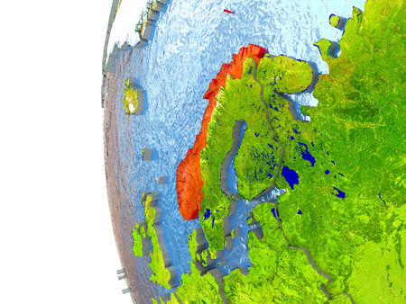 Norway in red on a globe with reflective ocean waters. 3D illustration with highly detailed realistic planet surface.