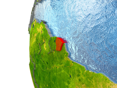 French Guiana in red on a globe with reflective ocean waters. 3D illustration with highly detailed realistic planet surface.