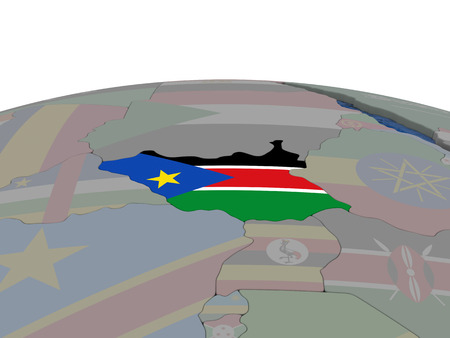 south sudan: Flag of South Sudan on globe. Official flag colours, accurate country borders. 3D illustration