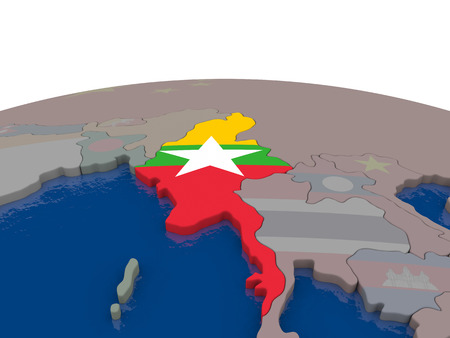 burmese: Flag of Myanmar on globe. Official flag colours, accurate country borders. 3D illustration Stock Photo