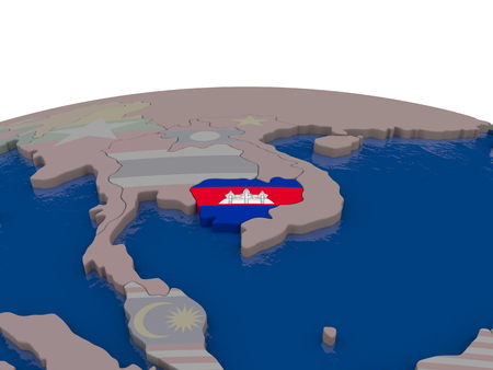 Flag of Cambodia on globe. Official flag colours, accurate country borders. 3D illustration