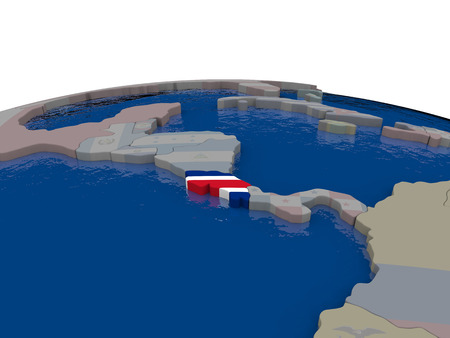 Flag of Costa Rica on globe. Official flag colours, accurate country borders. 3D illustration Banco de Imagens