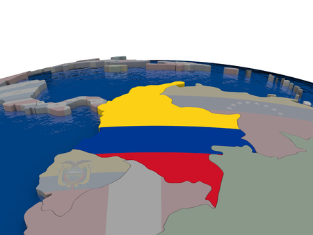 republic of colombia: Flag of Colombia on globe. Official flag colours, accurate country borders. 3D illustration