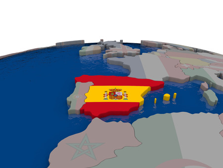 spaniard: Flag of Spain on globe. Official flag colours, accurate country borders. 3D illustration